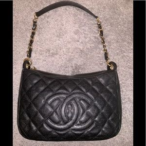 Chanel Quilted Hobo Bag In Caviar leather